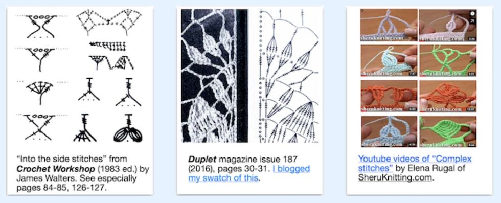 Examples of tall stitch artistry by James Walters, Irene Duplet, Elena Rugal