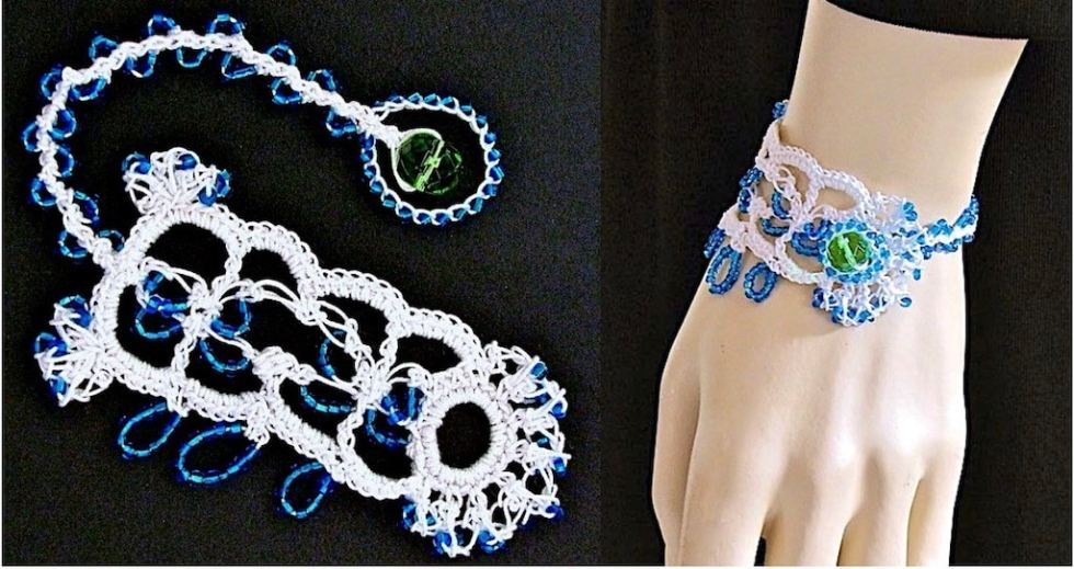 One of a kind white lace love knot bracelet with blue beads.