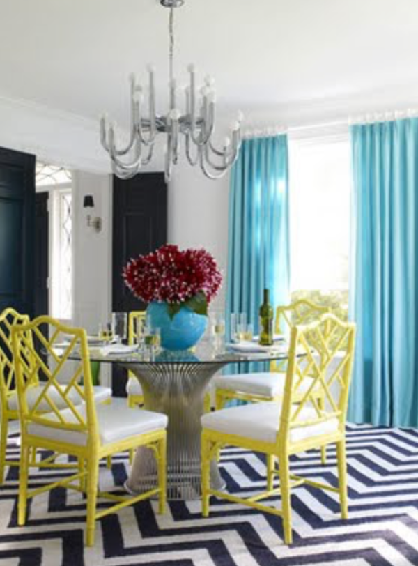 Dining room with bright colors