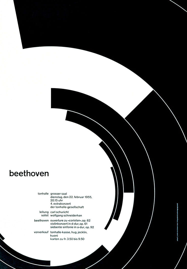 Beethoven Concert Advertisement, Josef Müller-Brockmann