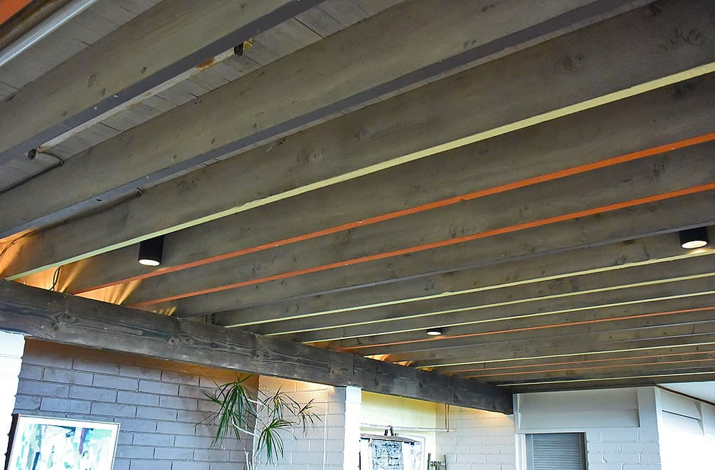 colorful beams downstairs at the Liljestrand House
