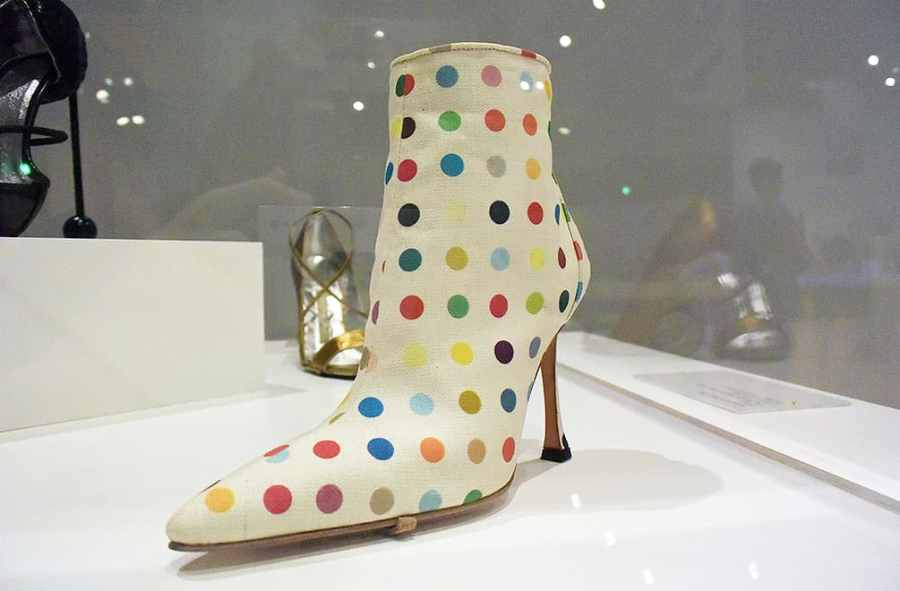 Damien Hirst designed dot boot for Manolo Blahnik