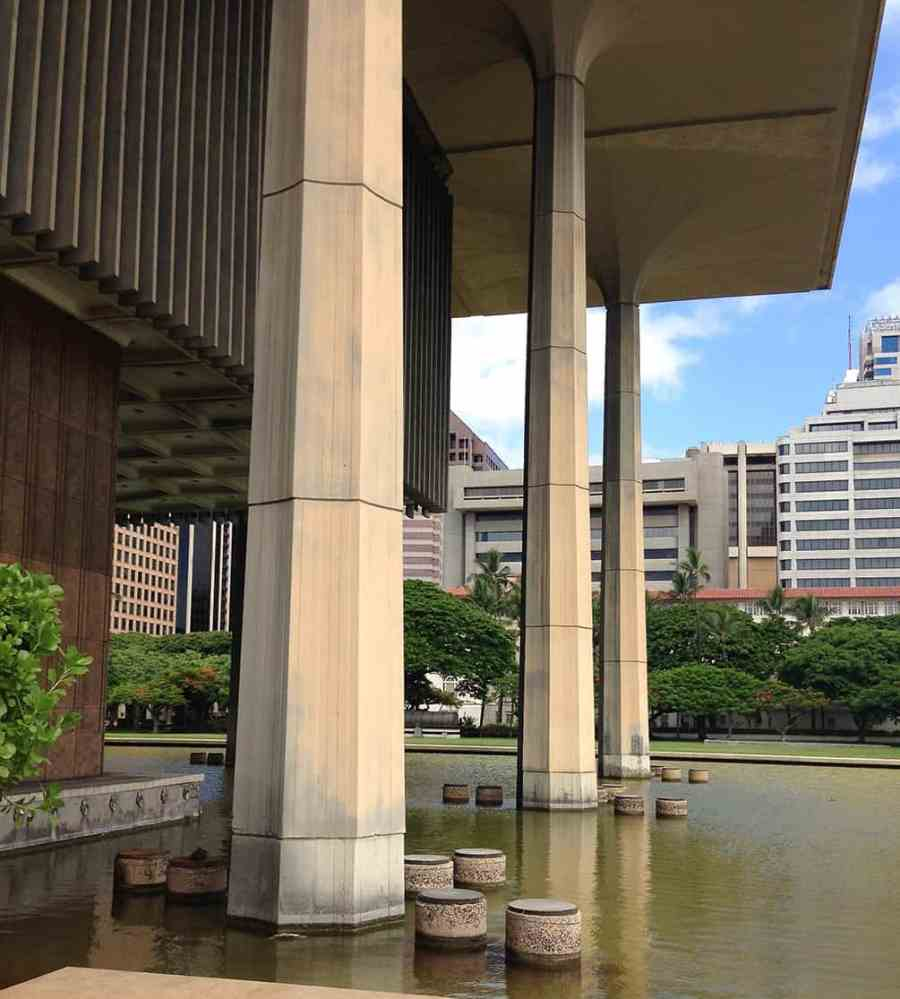 pools of water surrounding hawaii state capitol