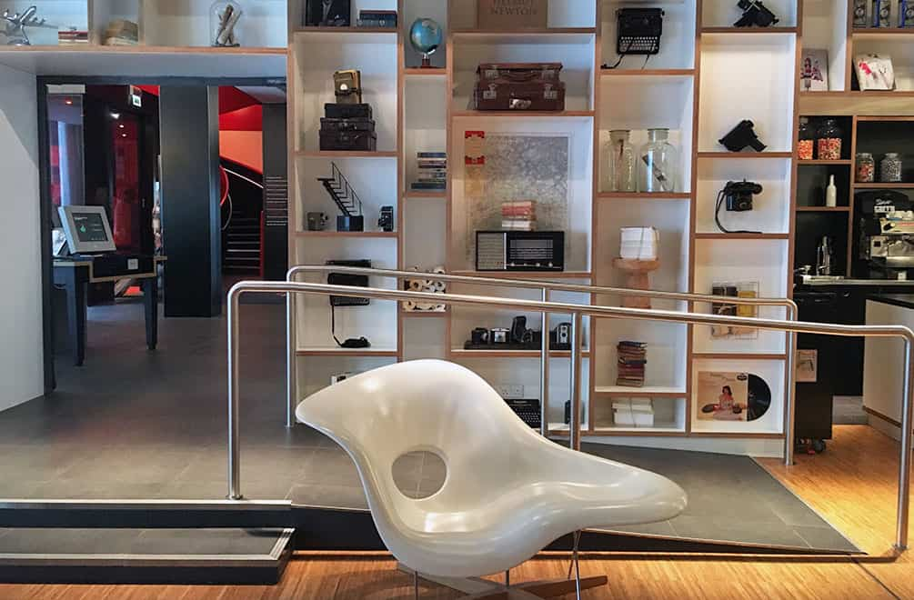 Eames La Chaise chair in the lobby of CitizenM, Glasgow