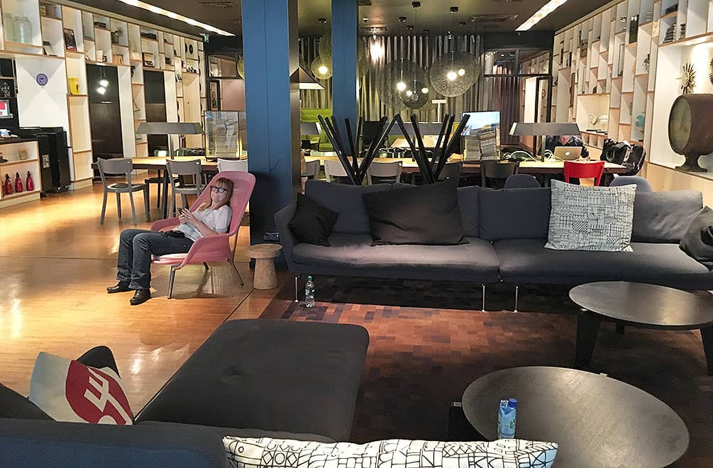 Sofas and chairs in CitizenM lobby, Glasgow