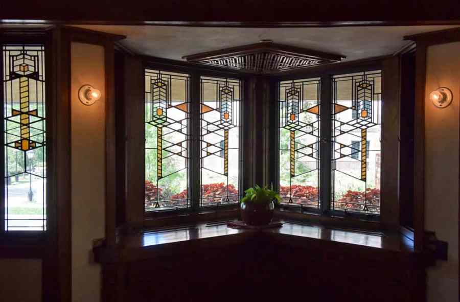 Bay window at Frank Lloyd Wright's Robie House