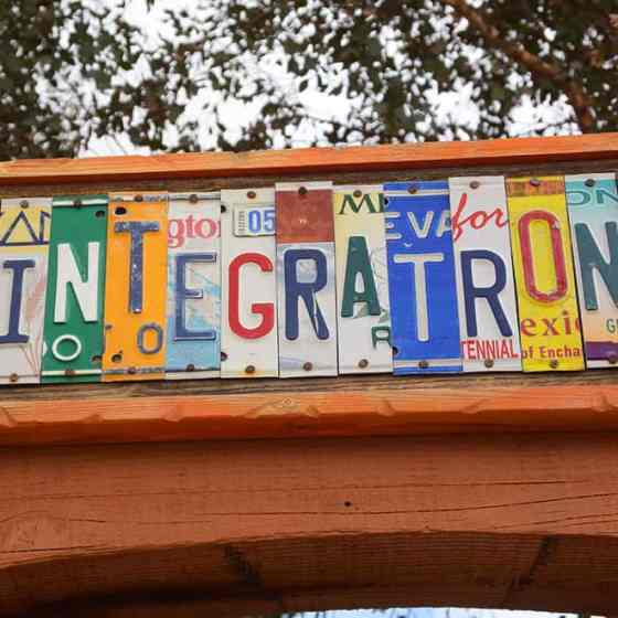 Integratron license plate sign