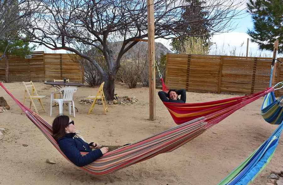 Ladies in hammocks at the Integratron