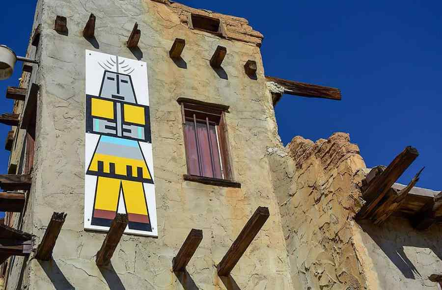 Cabot Museum adobe house with Kachina painting