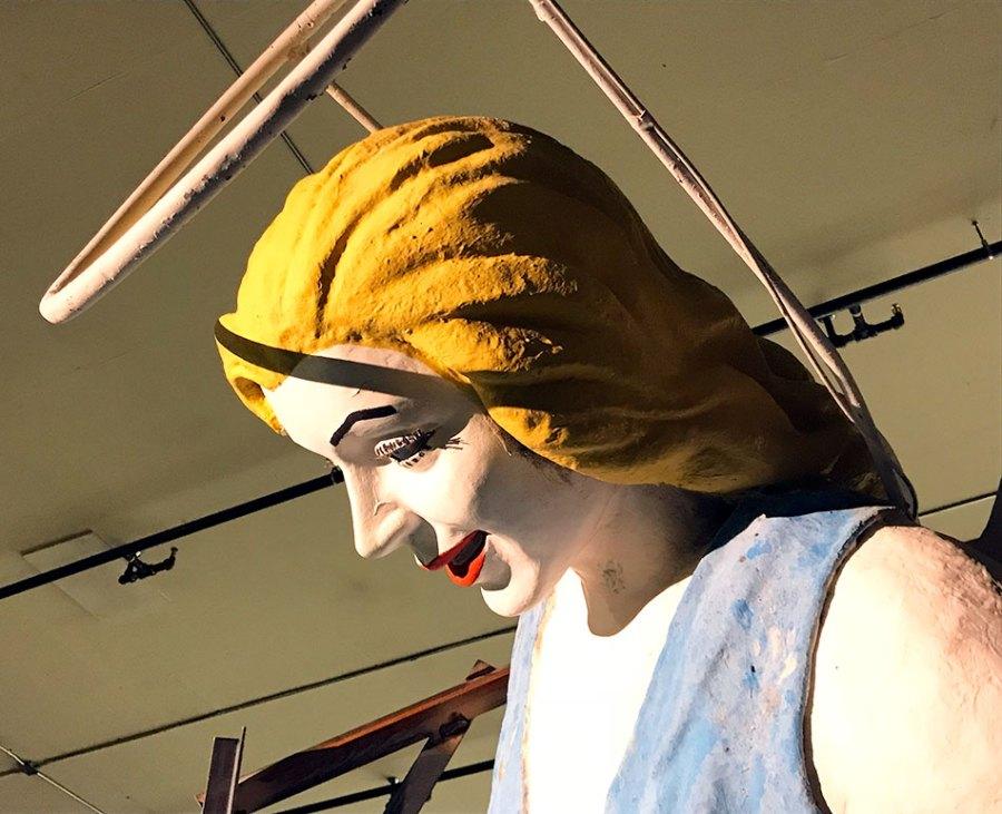 The Blue Angel sign in Las Vegas, side shot of head