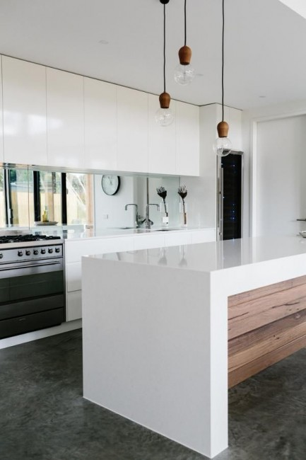 White Kitchen Benchtops - Designed and built by Altereco.net.au - Modern home in Melbourne | designlibrary.com.au