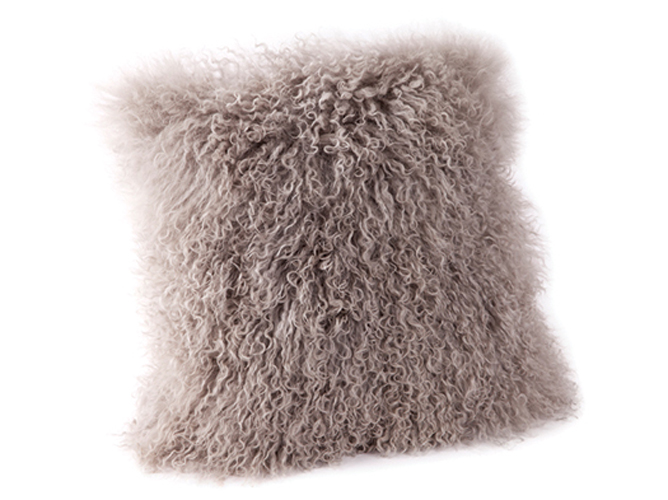 Papaya - Lina lambswool cushion in Mink | designlibrary.com.au