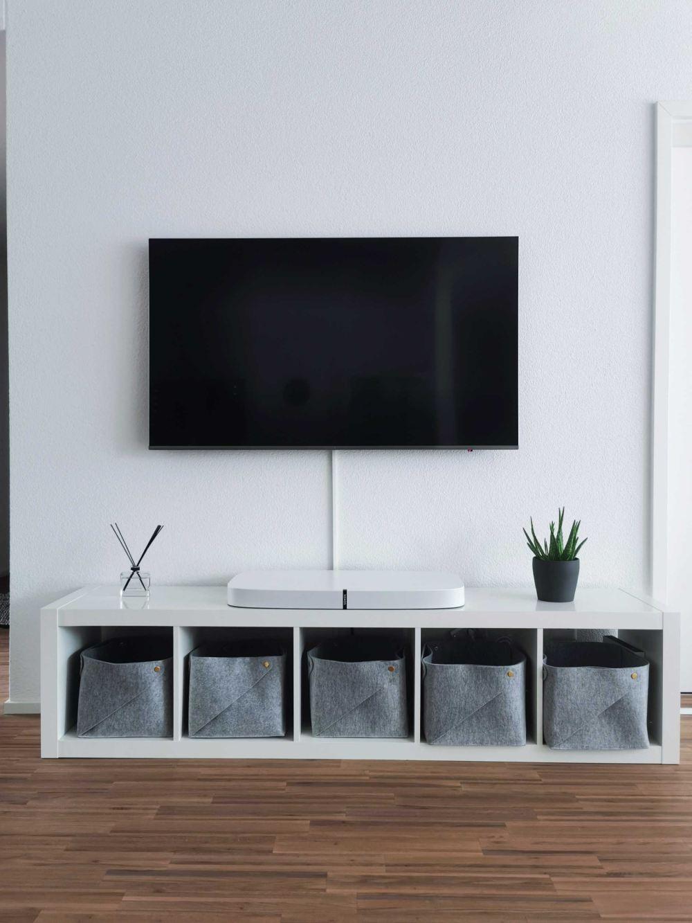 turned-off flat screen TV