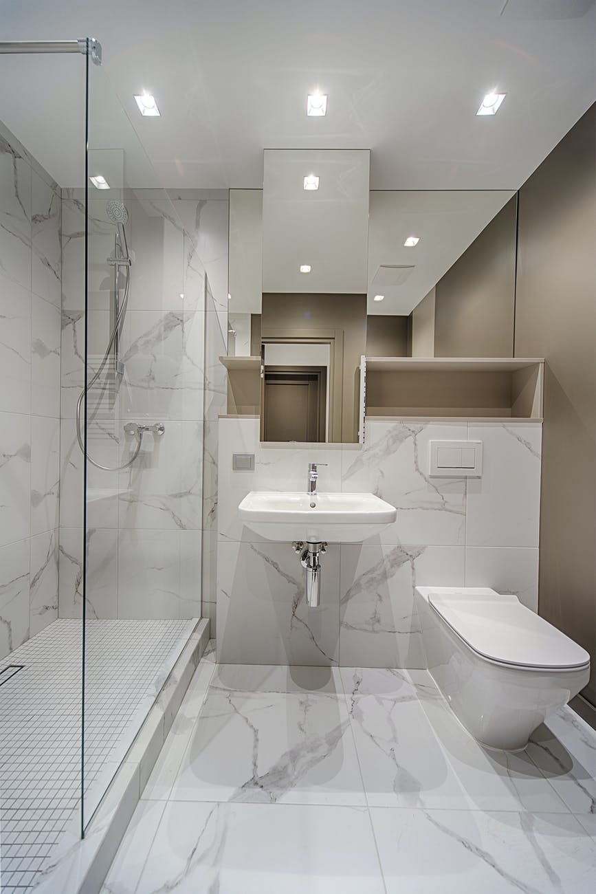 marble interior of bathroom with toilet