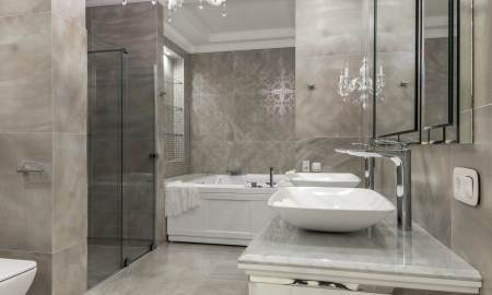 stylish bathroom interior with modern furniture