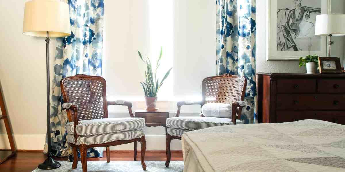 blue wool rug in bedroom
