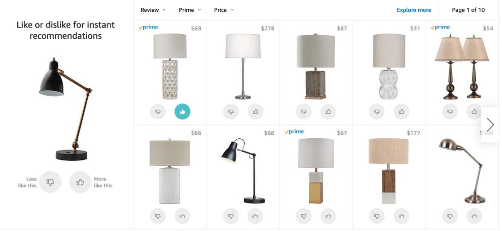 sample of Amazon's new like or dislike grid