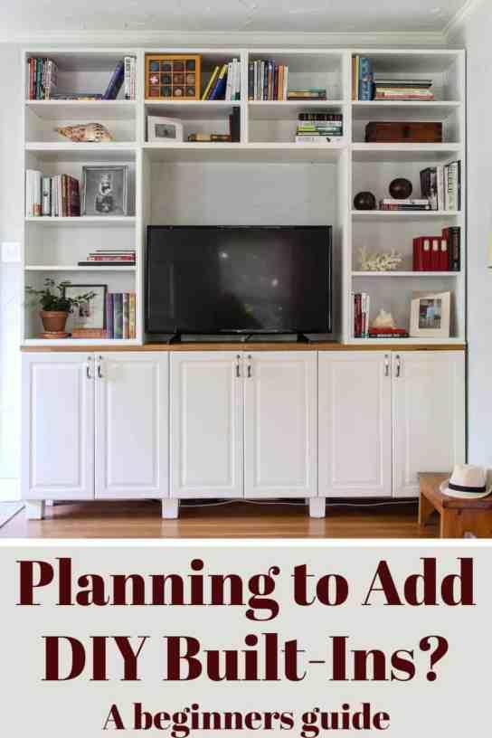 Plan your DIY built in bookshelves.  A beginners guide.
