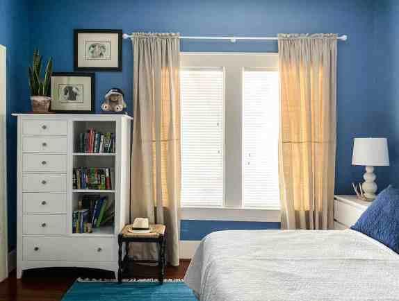 drop cloth curtain with header