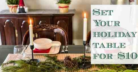 Christmas table setting on a budget
