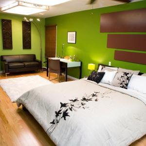 beautiful green concept in bedroom design