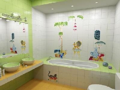 Colorful kids bathroom design idea