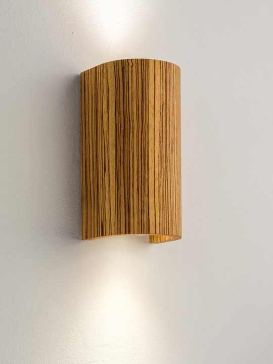 Tube Wandlampe in Holz Zebrano Domus Licht
