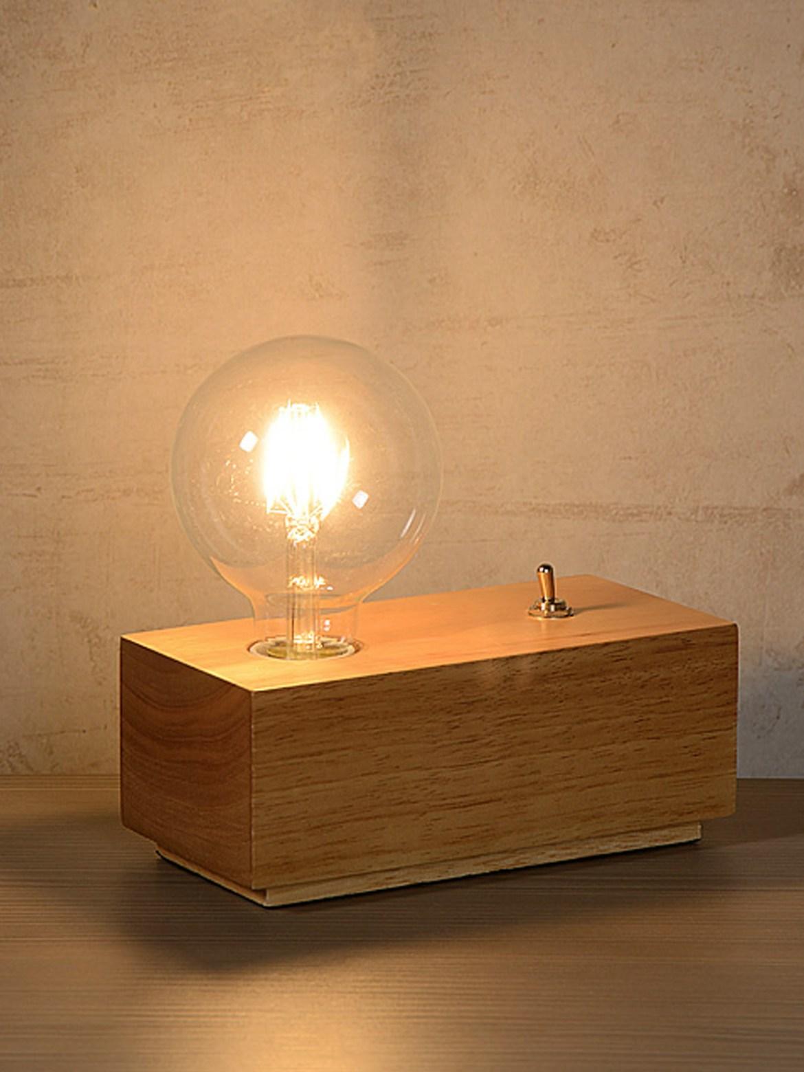 DesignOrt Blog: Die Designwelt von Lucide Tischlampe Edison dunkles Holz