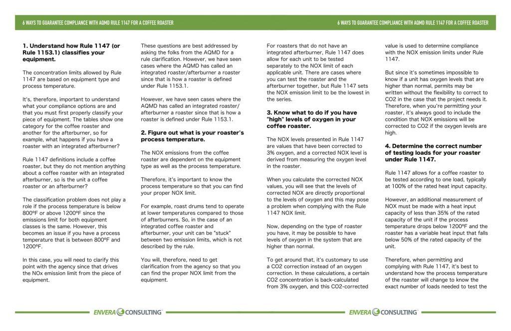 Brochure Design: Envera Consulting - Rule 1147 Coffee Roaster - Inside