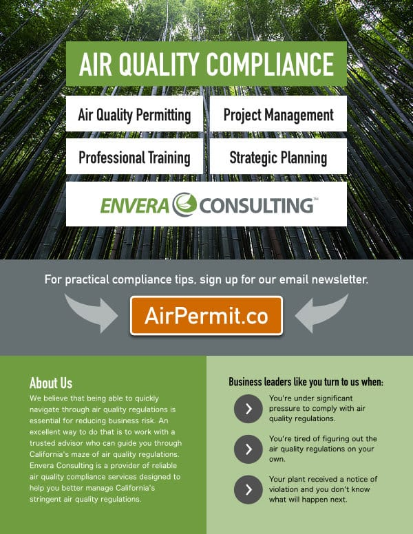 Flyer Design: Envera Consulting - Air Quality Compliance - Front