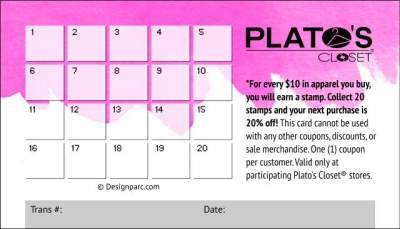 Plato's Closet Loyalty Card 2016 (back)
