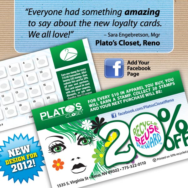 Loyalty Cards - New design for 2012 for Plato's Closet owners