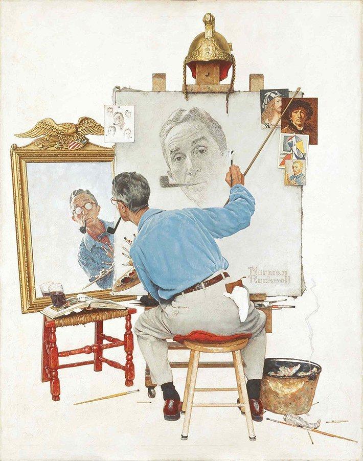 04-Triple-Self-Portrait-Norman-Rockwell