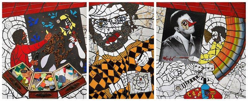 4 Autoritratto mentre creo. Il mio atelier. Mosaico su pannell1. Trittico per Triennale Design Museum 2014. Metri 2,5x1