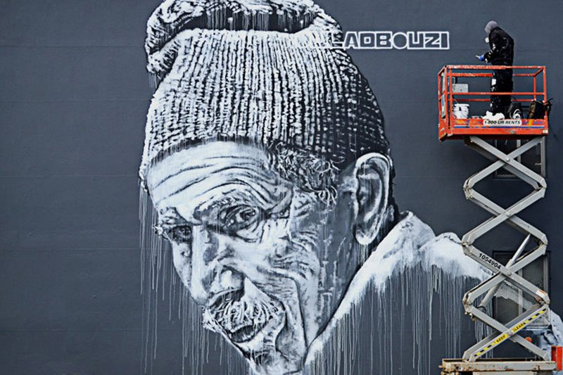 Hendrik Beikirch. Mural of Oulad-Bouzid-III, Brooklyn:NYC. (photo © Leanna Valente)