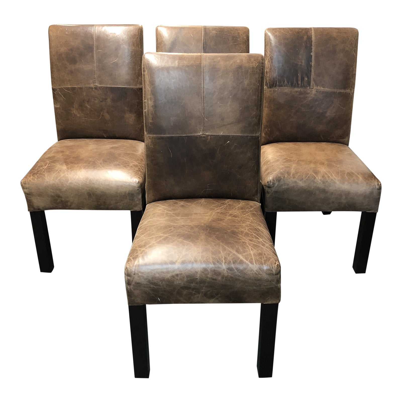 Custom Theodore Leather Dining Chairs A Set Of Four