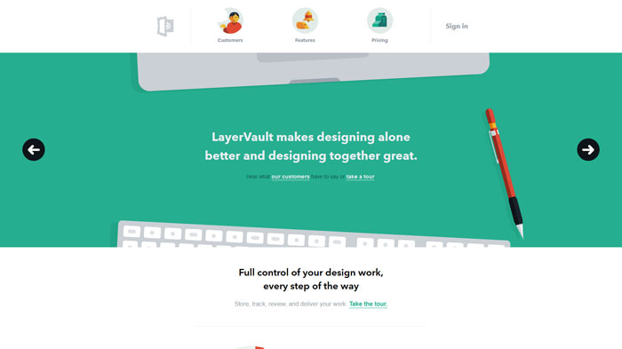 layervault.com Flat Web Design Inspiration