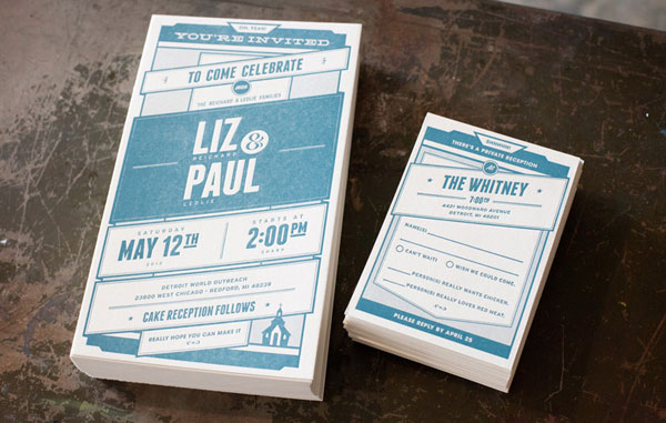 Liz and Paul Wedding Invitations Print Design Inspiration