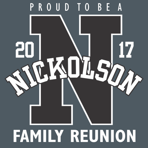 Family Reunion - Athletic Letter - Custom T-Shirt Design Template 1