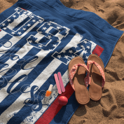 God Bless USA American Flag Patriotic Design Beach Towel T-Shirt