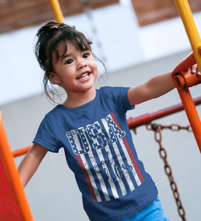 God Bless USA American Flag Patriotic Kids T-Shirt Design