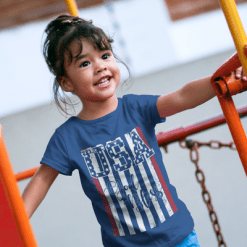 God Bless USA American Flag Patriotic Kids T-Shirt Design