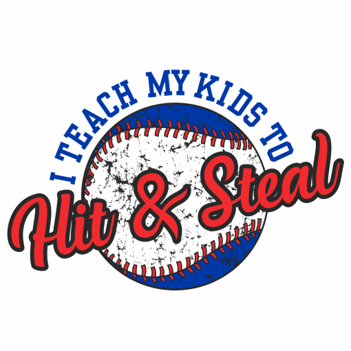Hit & Steal Baseball Ready-to-Print T-Shirt Design