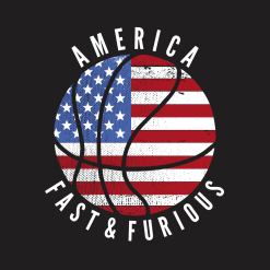 USA Flag Patriotic America Fast & Furious Basketball T Shirt Design