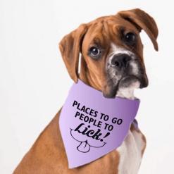 Dog Bandana SVG Design - Places to Go People to Lick Dog T Shirt Design