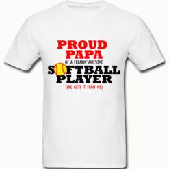 Proud Papa Dad Softball Player Sports T-Shirt Design