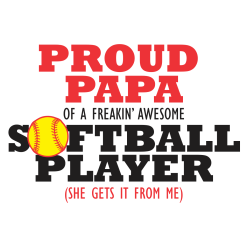 Proud Papa Shirts Dad Softball Player Sports T-Shirt Design