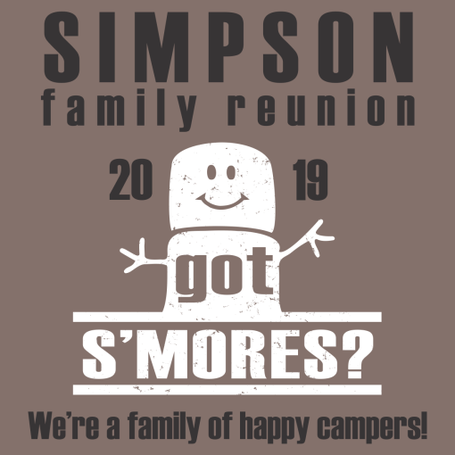 S'mores Happy Camper Family Reunion Shirt Design | Camping T-Shirt Design Template