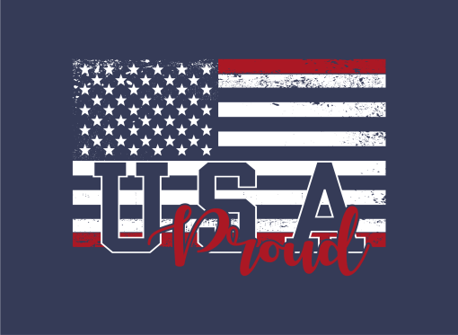 USA Flag Proud God Bless USA American Flag Patriotic T-Shirt Design