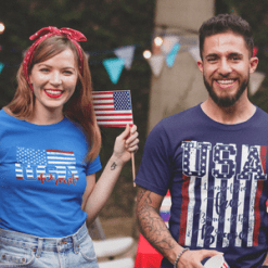 USA Flag Land of The Free Because of The Brave USA Proud Patriotic T-Shirt Design